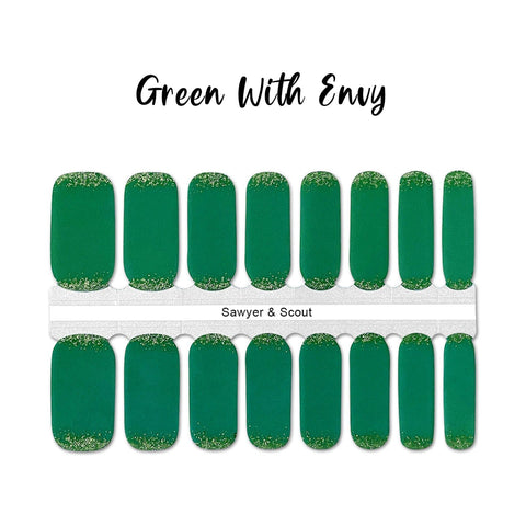 Green With Envy Nail Wraps 100% Nail Polish Stickers Nail Strips