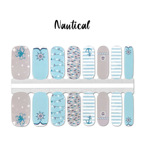 Nautical Nail Wraps 100% Nail Polish Stickers Nail Strips