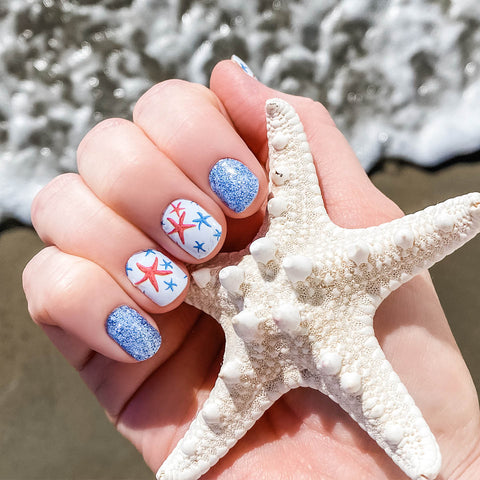 Sea Star Glitter Nail Wraps 100% Nail Polish Stickers Nail Strips