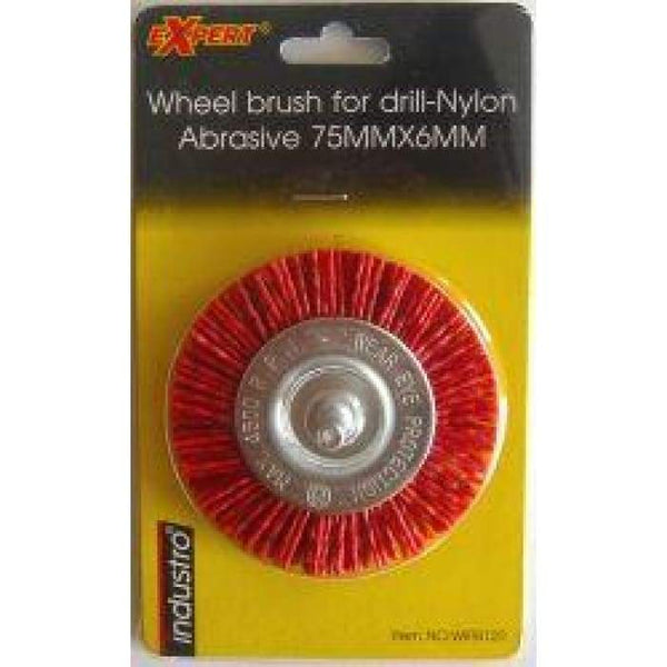 Wheel Brush For Drill - Nylon Abrasive - 75mm X 6mm-Max RPM 4500