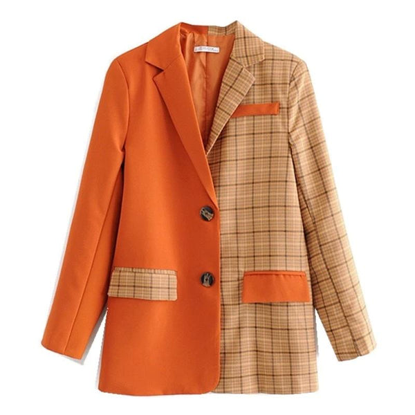 Orange Stitch Plaid Blazer