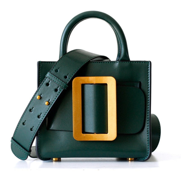 Luxury Leather Buckle Handbag