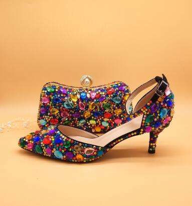 Multicolor Crystal Matching Shoes and Bag