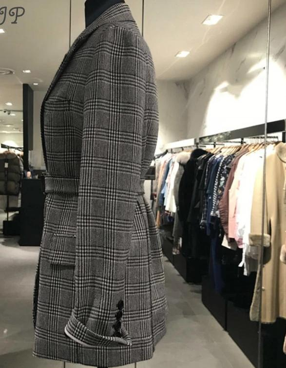High Waist Plaid Blazer 2