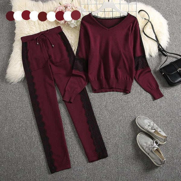 2 Piece Knit Sweater Tracksuit