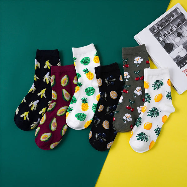 Assorted Fruit Print Socks
