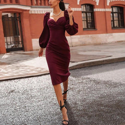 Lantern-Sleeve Off-shoulder Dress