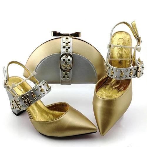 Hand-made Gold Appliques Matching Bag and Shoes