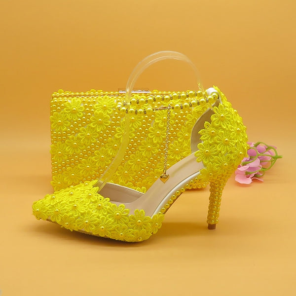 Unique Yellow Lace Matching Shoes and Bag