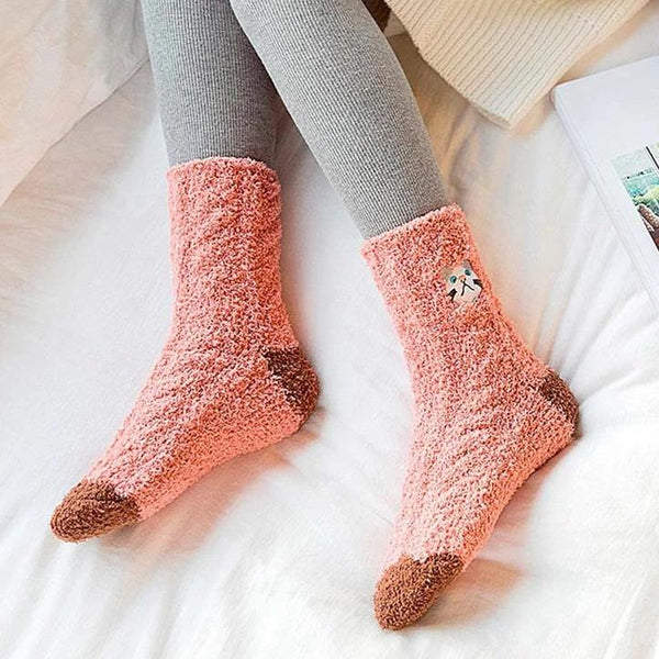 Embroidered Fluffy Cartoon Socks