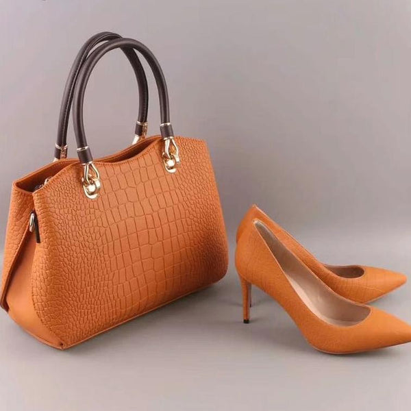 High Heel Faux Leather Shoes and Matching Bag