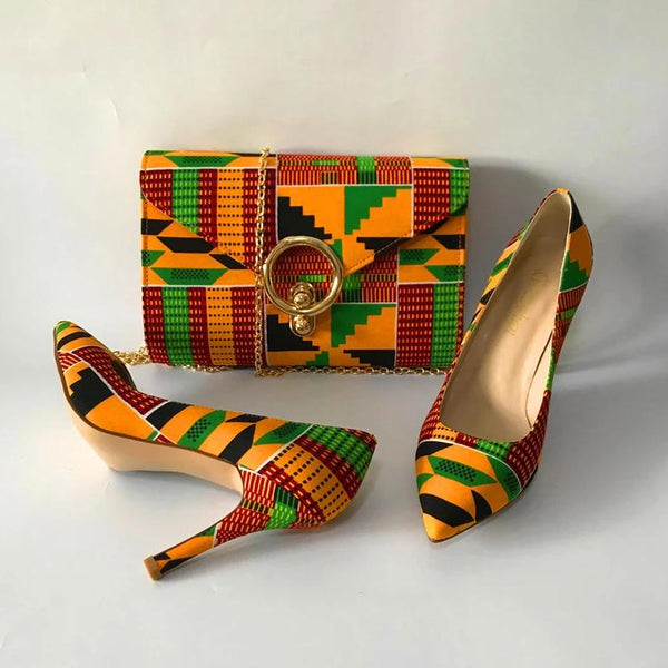 African Fabric Shoes and Matching Clutch Purse