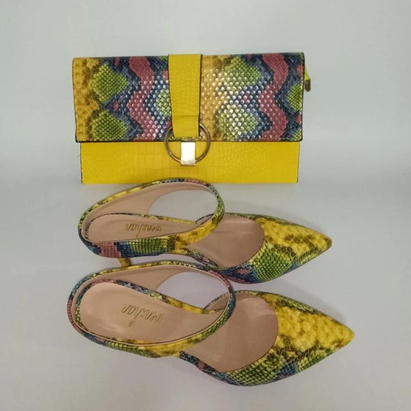 Printed Snake-pattern Clutch Purse and Matching Shoes