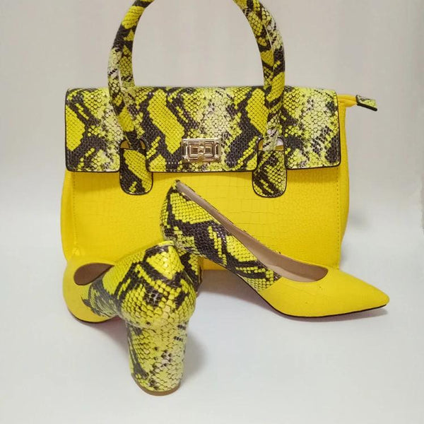 Color Mesh Snake Skin Pattern Matching Bag and Shoes