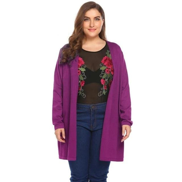 Plus Size Long Knit Cardigan
