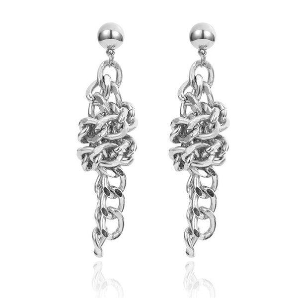 Knotted Aluminum Chain Earrings