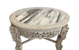 British Colonial Center Table w MOP Inlay and Marble Top
