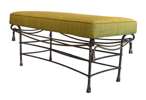 Pair Maison Jansen Benches With Green Faille Seat