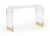 Acrylic Table Waterfall Brass Feet Furniture Console Lucite Coco & Dash