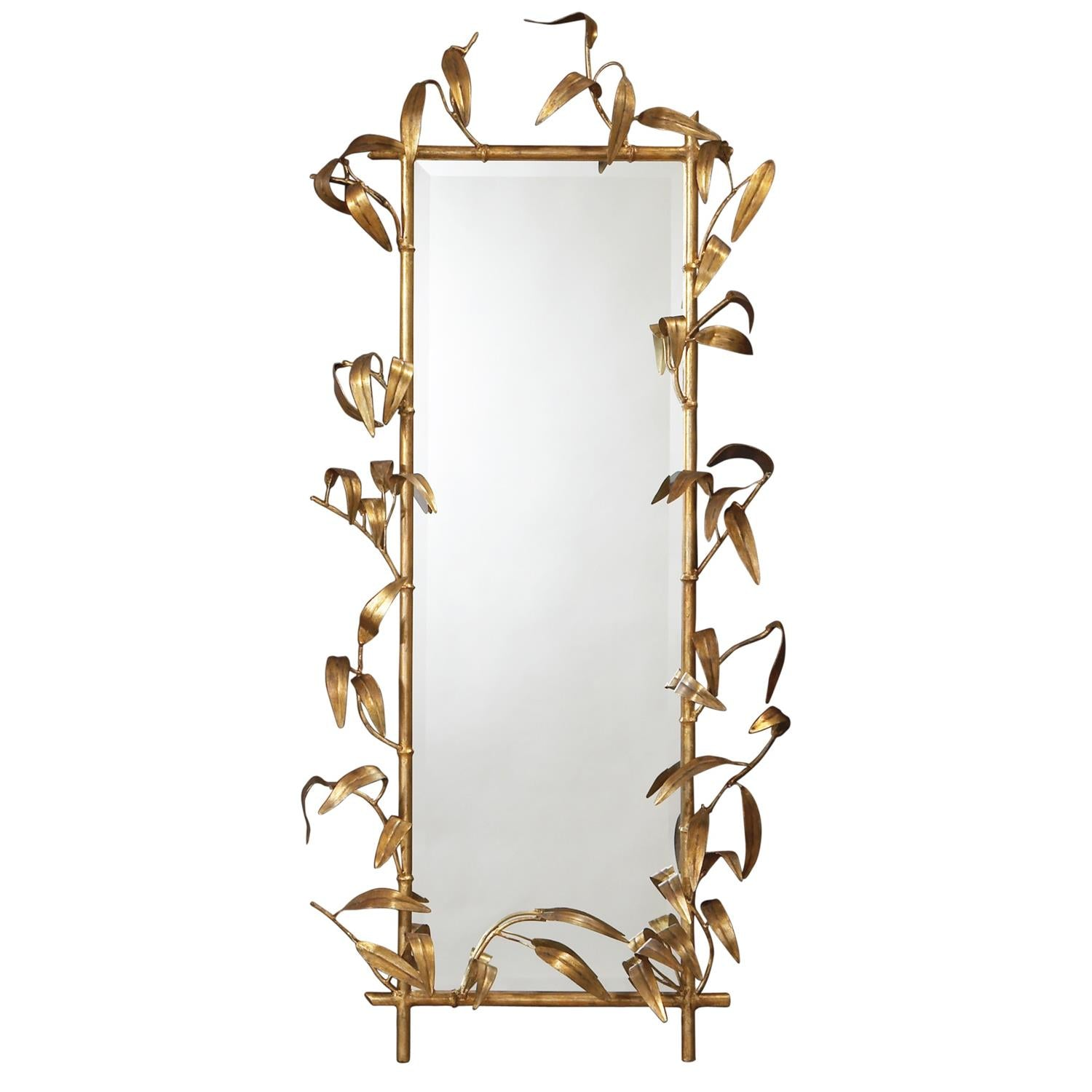 Bamboo Mirror with Gold Finish