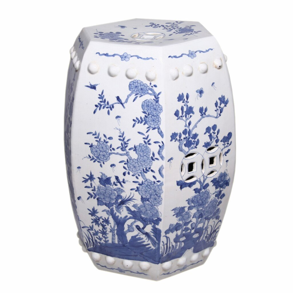 Blue & White Hexagonal Floral Garden Seat