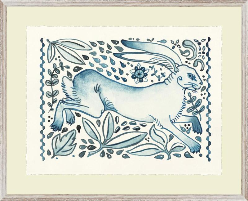 Blue & White Jumping Hare