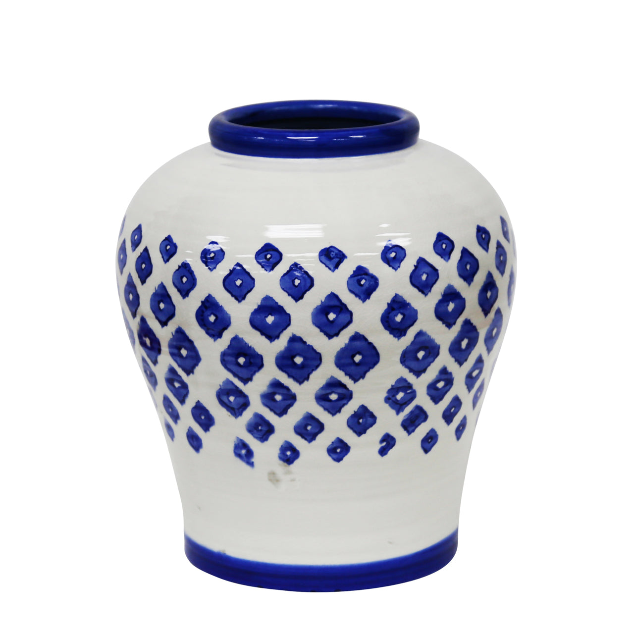 Blue and White Stencil Vase