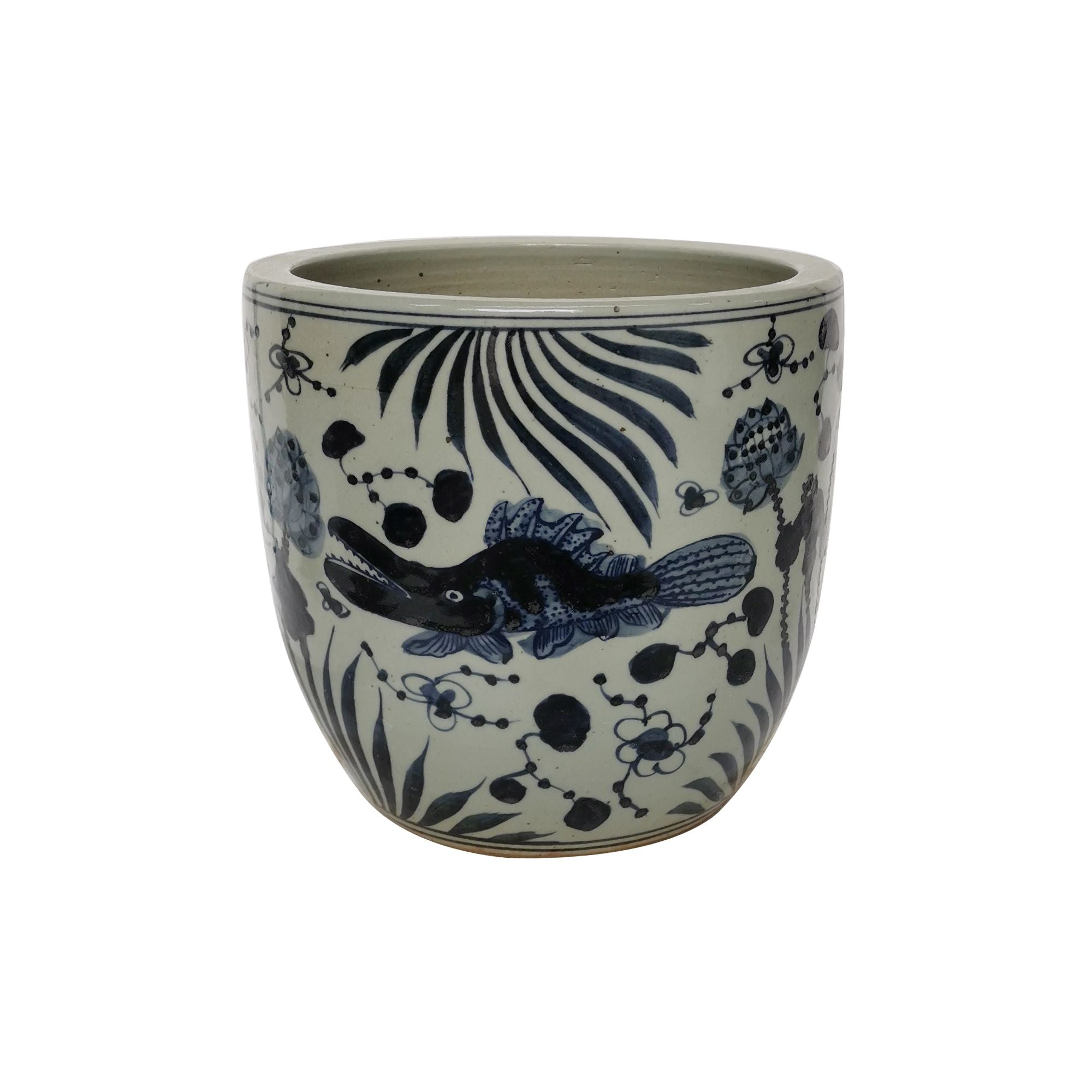 Blue and White Lotus Fish Planter
