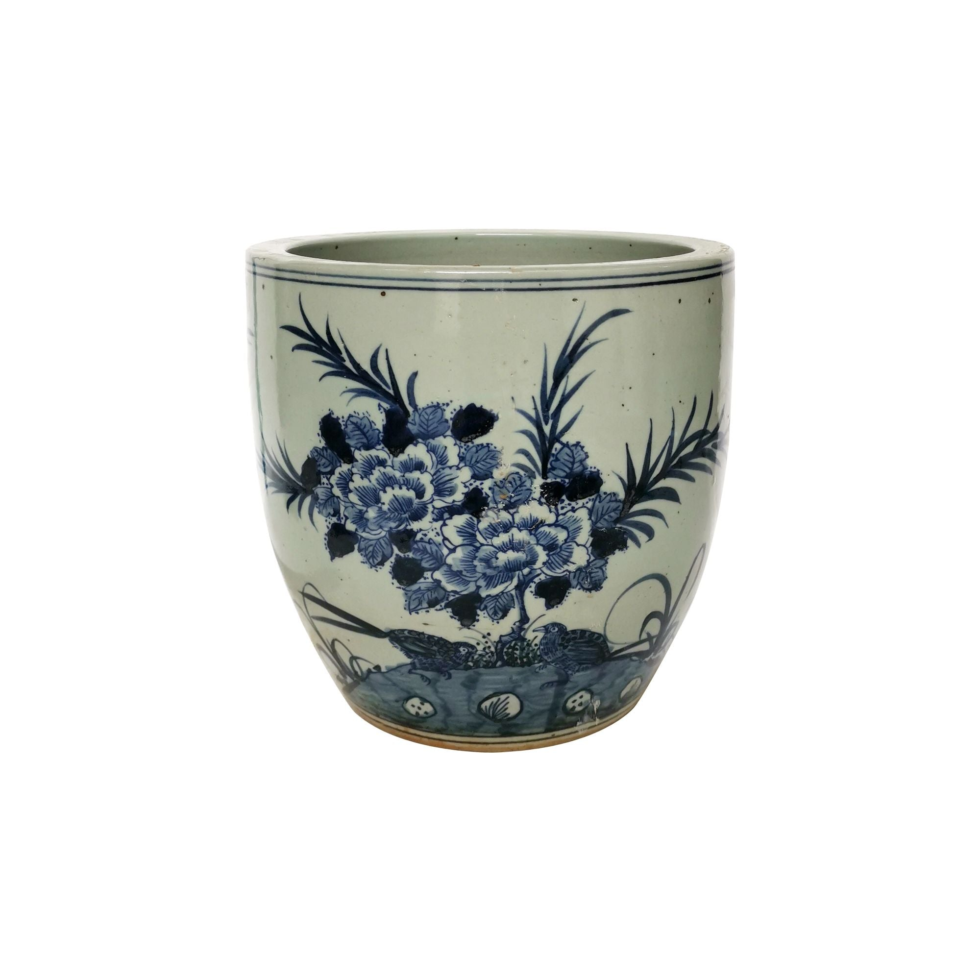 Blue and White Peony Planter