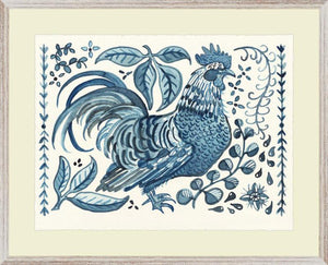 Blue and White Standing Rooster