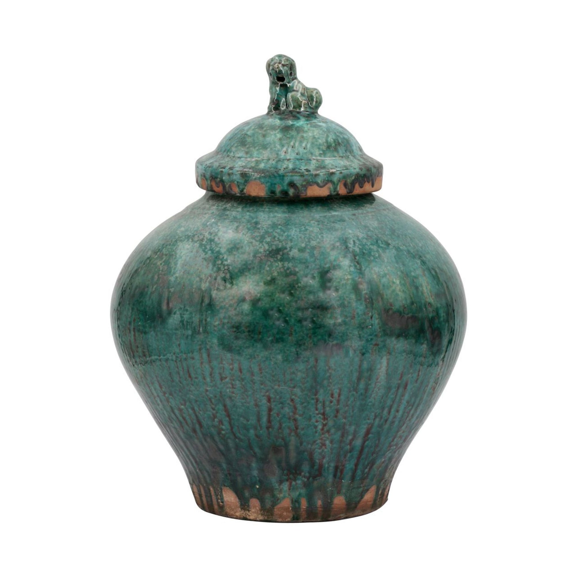 Emerald Jar with Lion Lid