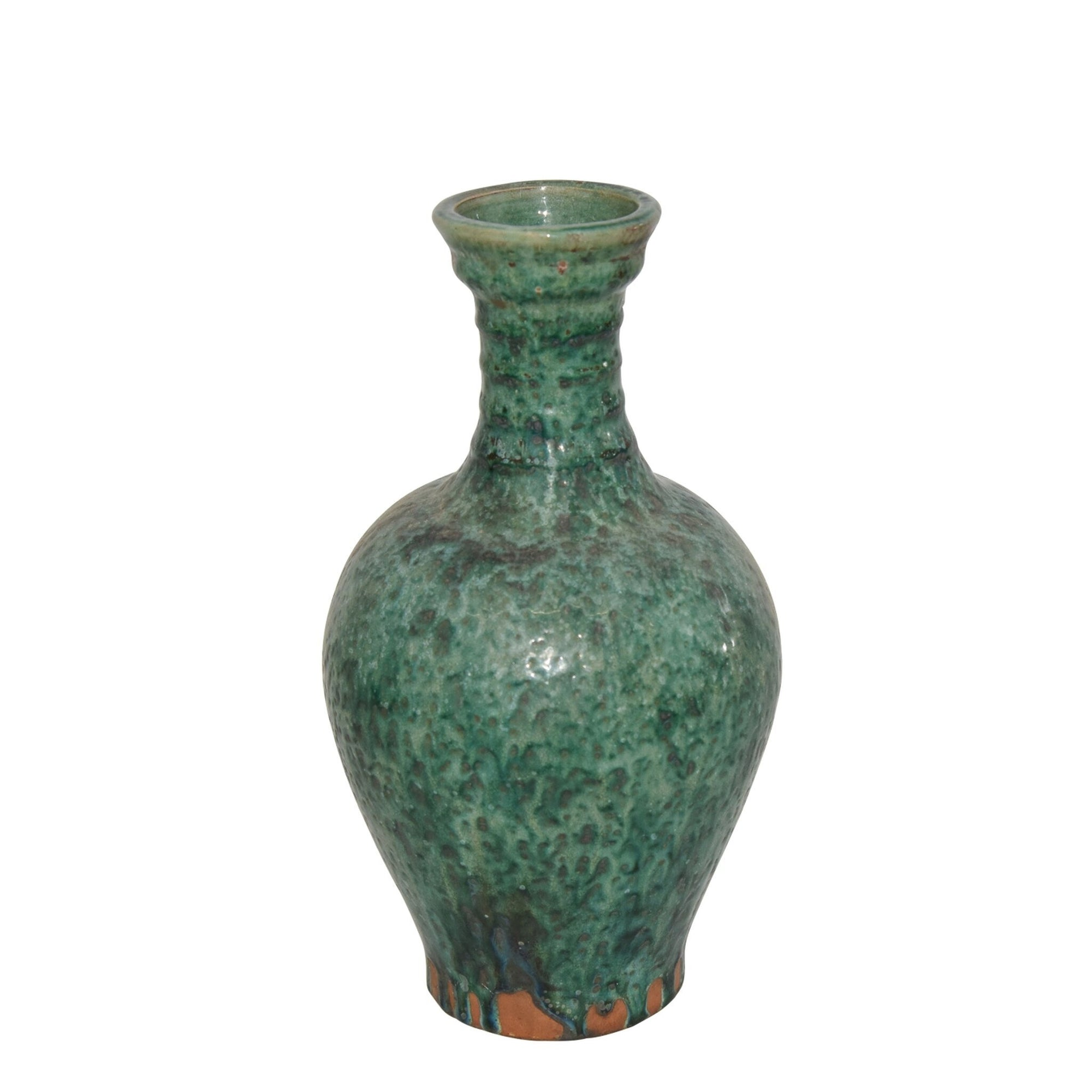 Emerald Ridged Neck Vase