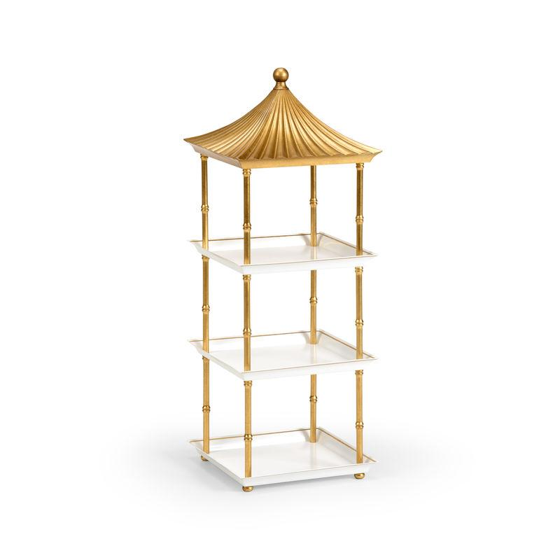 Gold and White Tiered Pagoda