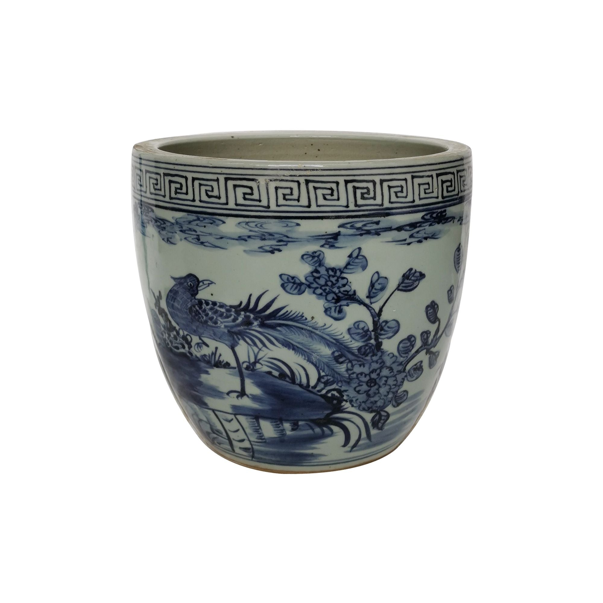 Blue and White Greek Key Pheasant Flower Planter