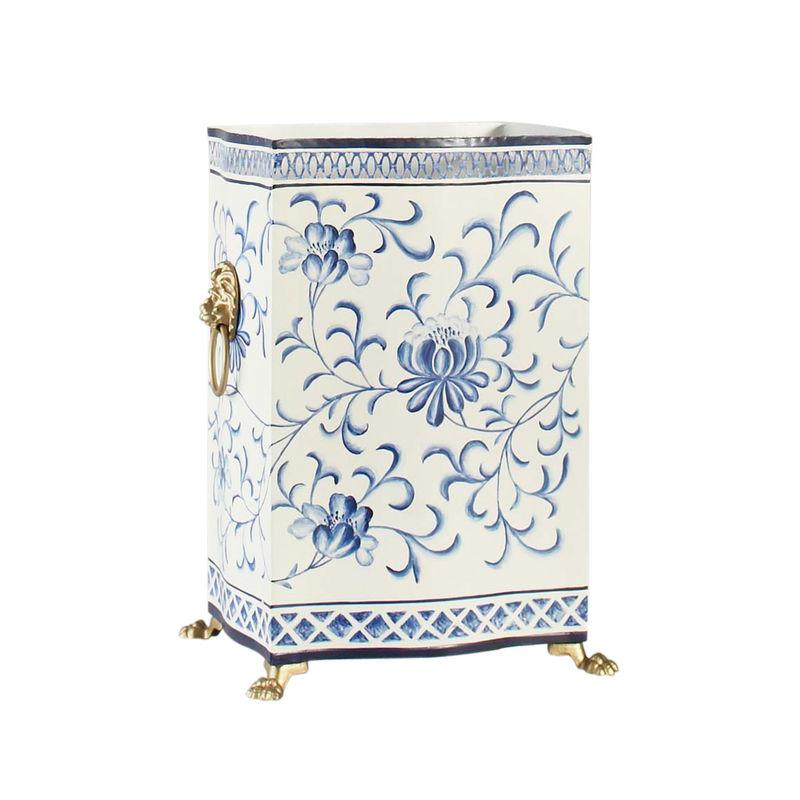 Hand Painted Wastebasket with Lion's Head Handles