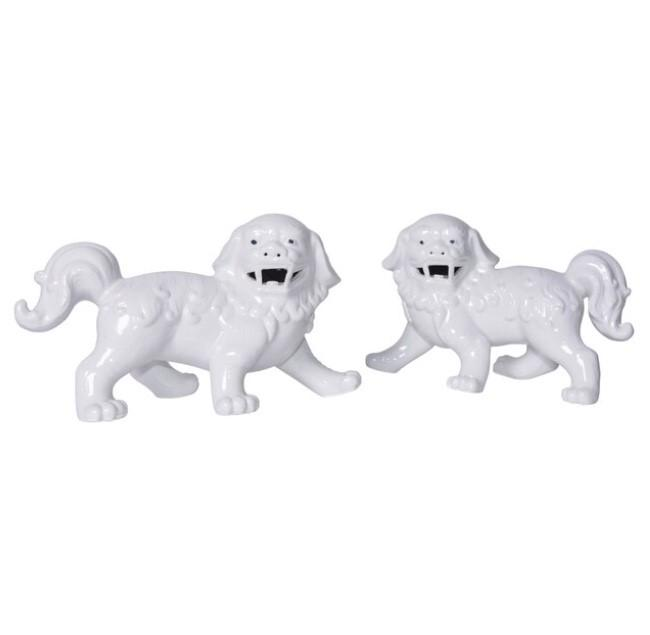 White Porcelain Walking Shi Dogs - Pair