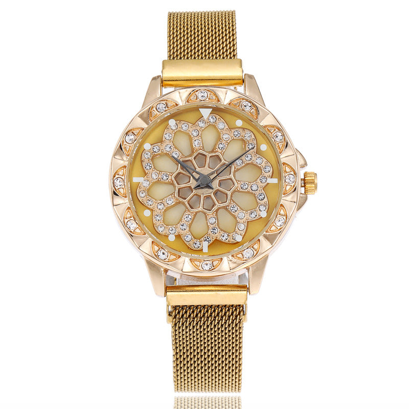 360 degree rotation Women Watch Mesh Magnet Starry Sky Ladies Watch Luxury  Fashion Geometric Quartz Watch Relogio Feminino