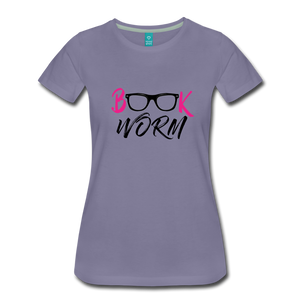 BOOK WORM Premium Light Color Tshirts - washed violet