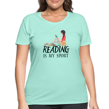 Load image into Gallery viewer, Reading Is My Sport Women's Curvy T-Shirt - mint
