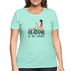 Reading Is My Sport Women's Curvy T-Shirt - mint