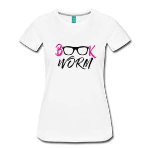 BOOK WORM Premium Light Color Tshirts - white