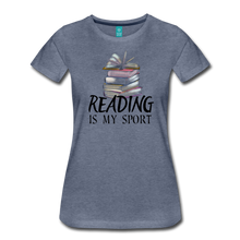 Load image into Gallery viewer, READING IS MY SPORT PREMIUM SHIRT - heather blue