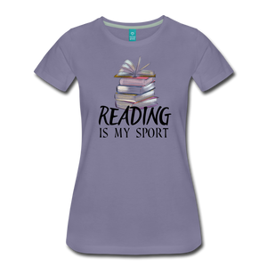 READING IS MY SPORT PREMIUM SHIRT - washed violet