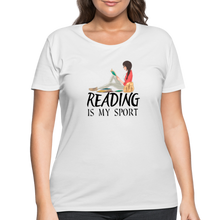 Load image into Gallery viewer, Reading Is My Sport Women's Curvy T-Shirt - white
