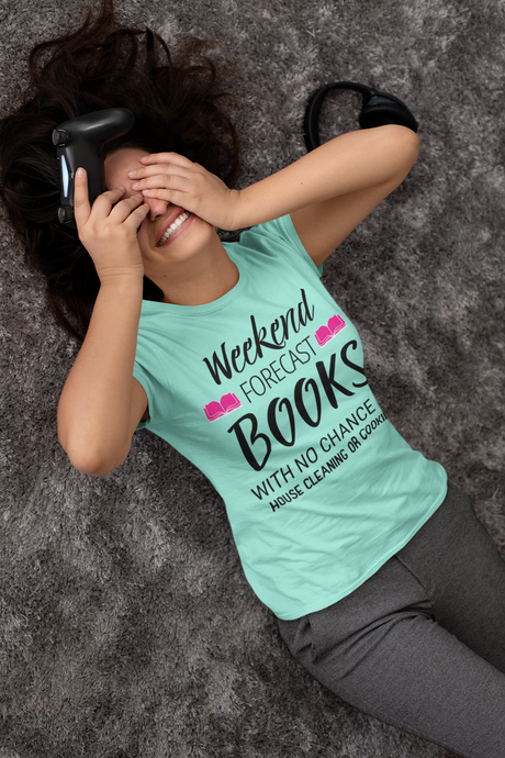 WEEKEND FORECAST. BOOKS WITH NO CHANCE OF HOUSE CLEANING OR COOKING (Unisex Tri-Blend T-Shirt)