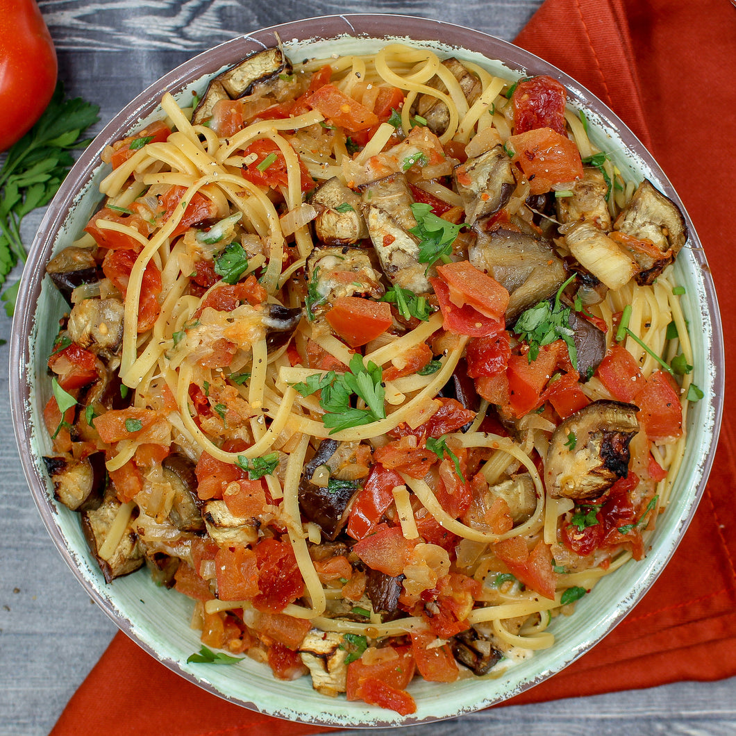 Eggplant and Sun-Dried Tomato Linguine
