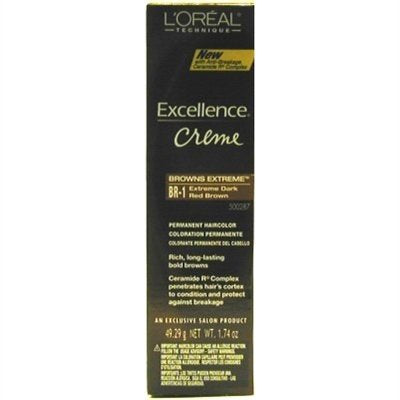 Loreal Excellence Creme Permanent Hair Color 1 Extra Dark Red Brown 1.74 Oz