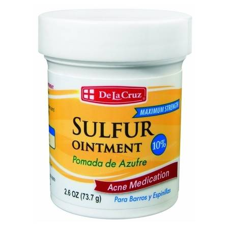 De La Cruz 10% Sulfur Ointment Acne Medication 2.6 OZ