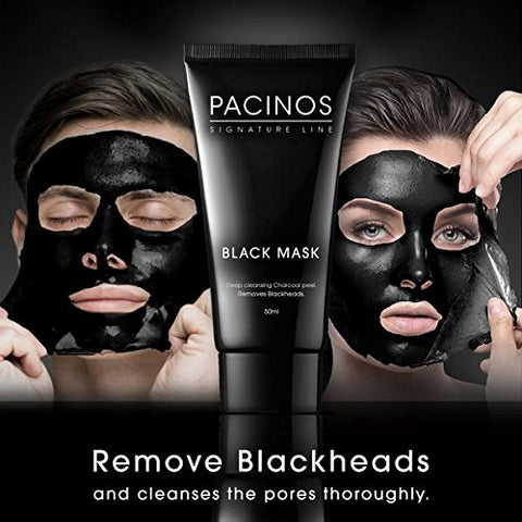 Pacinos Blackhead Remover Deep Cleansing Peel Off Black Mask Active Charcoal Tearing Charcoal Masque, 1.76 oz