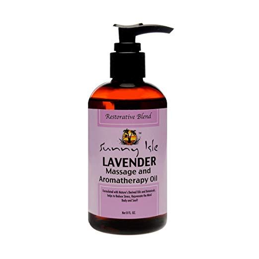 Sunny Isle Lavender Massage And Aromatherapy Oil, Brown, 8 Fluid Ounce